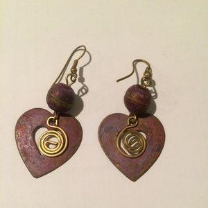 Light metal heart earrings